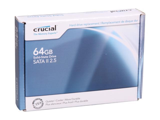 "Crucial 2.5"" 64GB SATA II MLC Internal Solid State Drive (SSD) CT64M225"