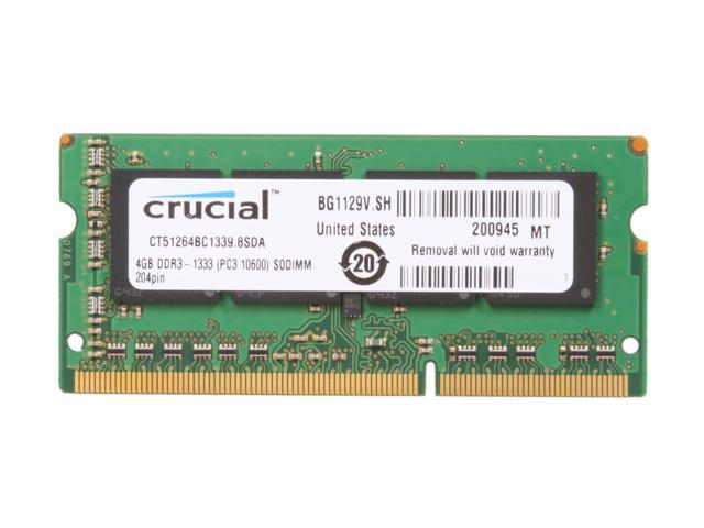 Crucial 4GB 204-Pin DDR3 SO-DIMM DDR3 1333 (PC3 10600) Laptop Memory Model CT51264BC1339