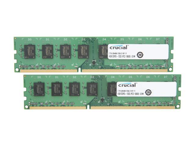 Crucial 8GB (2 x 4GB) 240-Pin DDR3 SDRAM DDR3 1333 (PC3 10600) Desktop Memory Model CT2KIT51264BA1339