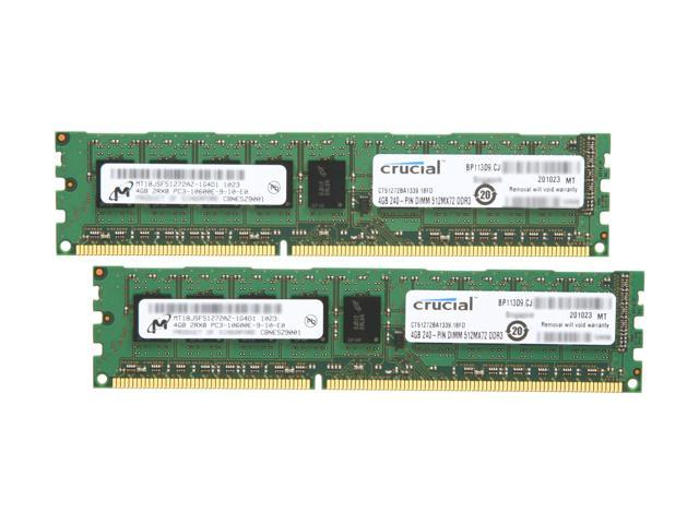 Crucial 8GB (2 x 4GB) 240-Pin DDR3 SDRAM ECC Unbuffered DDR3 1333 (PC3 10600) Server Memory Model CT2KIT51272BA1339