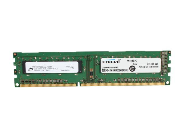 Crucial 2GB 240-Pin DDR3 SDRAM DDR3L 1333 (PC3L 10600) Desktop Memory Model CT25664BD1339