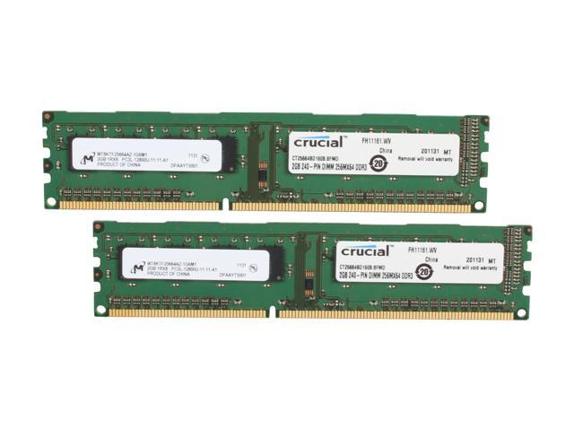 Crucial 4GB (2 x 2GB) 240-Pin DDR3 SDRAM DDR3L 1600 (PC3L 12800) Desktop Memory Model CT2KIT25664BD160B