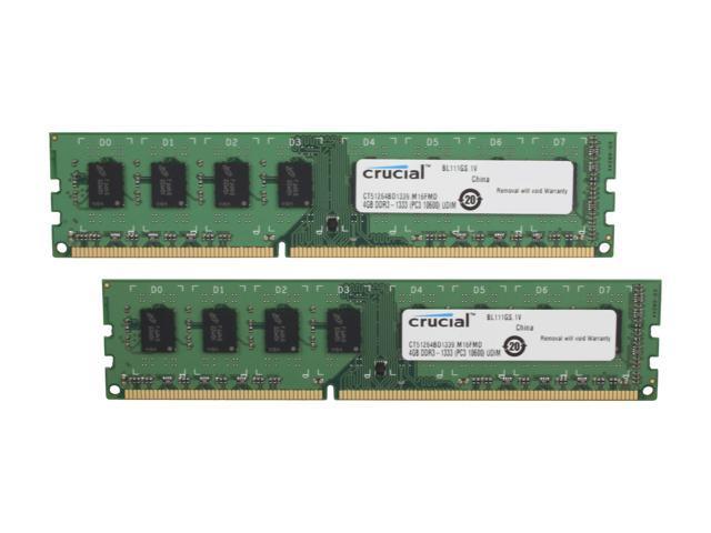 Crucial 8GB (2 x 4GB) 240-Pin DDR3 SDRAM DDR3 1333 (PC3 10600) Desktop Memory Model CT2KIT51264BD1339