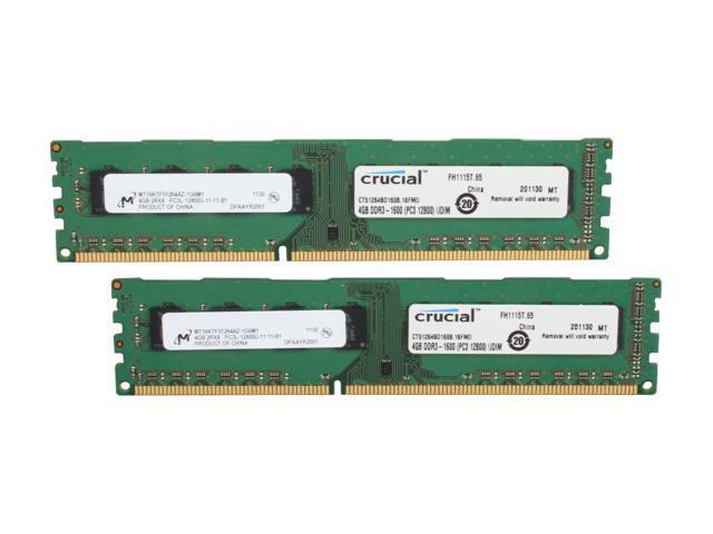 Crucial 8GB (2 x 4GB) 240-Pin DDR3 SDRAM DDR3L 1600 (PC3L 12800) Desktop Memory Model CT2KIT51264BD160B