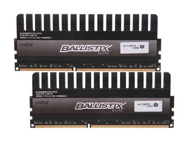 Crucial Ballistix 8GB (2 x 4GB) 240-Pin DDR3 SDRAM DDR3 1866 (PC3 14900) Desktop Memory Model BLE2KIT4G3D186HCE1TX0