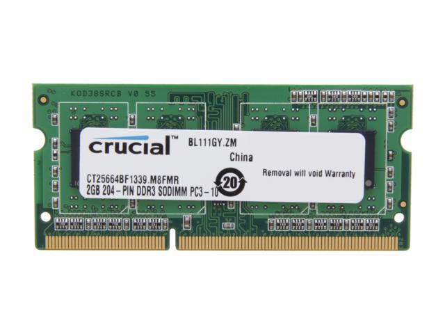 Crucial 2GB 204-Pin DDR3 SO-DIMM DDR3L 1333 (PC3L 10600) Laptop Memory Model CT25664BF1339