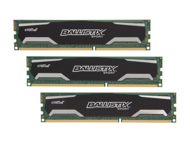 Crucial Ballistix Sport 6GB (3 x 2GB) 240-Pin DDR3 SDRAM DDR3 1333 (PC3 10600) Desktop Memory Model BLS3KIT2G3D1339DS1S00