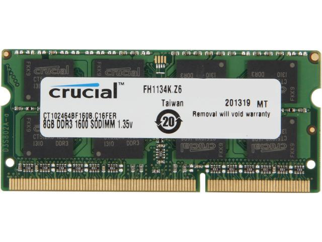 Crucial 8GB 204-Pin DDR3 SO-DIMM DDR3L 1600 (PC3L 12800) Laptop Memory Model CT102464BF160B