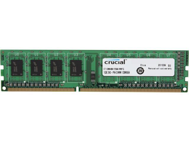 Crucial 1GB 240-Pin DDR3 SDRAM DDR3 1333 (PC3 10600) Desktop Memory Model CT12864BA1339A