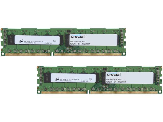 Crucial 16GB (2 x 8GB) 240-Pin DDR3 SDRAM ECC Registered DDR3 1333 (PC3 10600) Server Memory Model CT2K8G3ERSLD81339