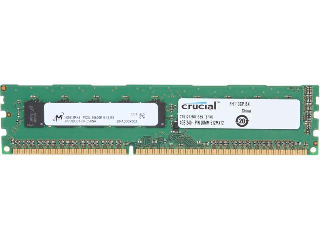 Crucial 4GB 240-Pin DDR3 SDRAM ECC Unbuffered DDR3 1333 (PC3 10600) Server Memory Model CT51272BD1339