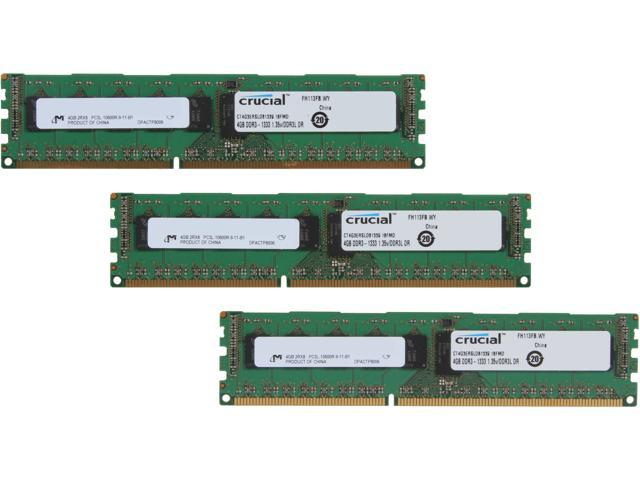 Crucial 12GB (3 x 4GB) 240-Pin DDR3 SDRAM ECC Registered DDR3 1333 (PC3 10600) Server Memory Model CT3K4G3ERSLD81339