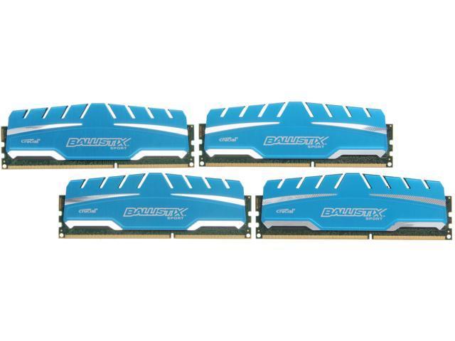 Crucial Ballistix Sport XT 16GB (4 x 4GB) 240-Pin DDR3 SDRAM DDR3 1866 (PC3 14900) Desktop Memory Model BLS4K4G3D18ADS3