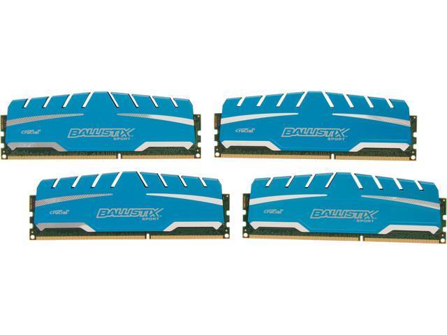 Crucial Ballistix Sport XT 32GB (4 x 8GB) 240-Pin DDR3 SDRAM DDR3 1600 (PC3 12800) Desktop Memory Model BLS4K8G3D169DS3