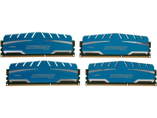 Crucial Ballistix Sport XT 32GB (4 x 8GB) 240-Pin DDR3 SDRAM DDR3 1866 (PC3 14900) Desktop Memory Model BLS4K8G3D18ADS3
