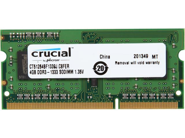 Crucial 4GB 204-Pin DDR3 SO-DIMM DDR3L 1600 (PC3L 12800) Laptop Memory Model CT51264BF1339