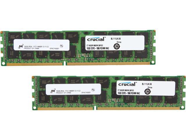 Crucial 32GB (2 x 16GB) DDR3 1866 (PC3 14900) ECC Registered Memory For Mac Pro Systems Model CT2K16G3R186DM