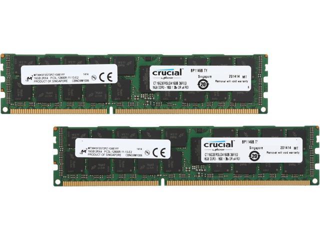 Crucial 32GB (2 x 16GB) 240-Pin DDR3 SDRAM ECC Registered DDR3 1600 (PC3 12800) Server Memory Model CT2K16G3ERSLD4160B