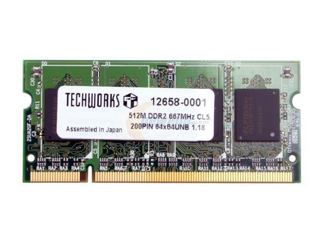 Techworks by Buffalo 512MB 200-Pin DDR2 SO-DIMM DDR2 667 (PC2 5300) Memory for Apple Notebook Model 12658-0001
