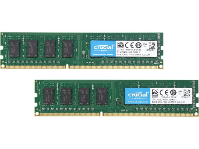 Crucial 8GB (2 x 4GB) 240-Pin DDR3 SDRAM DDR3L 1600 (PC3L 12800) Desktop Memory Model CT2K51264BD160B
