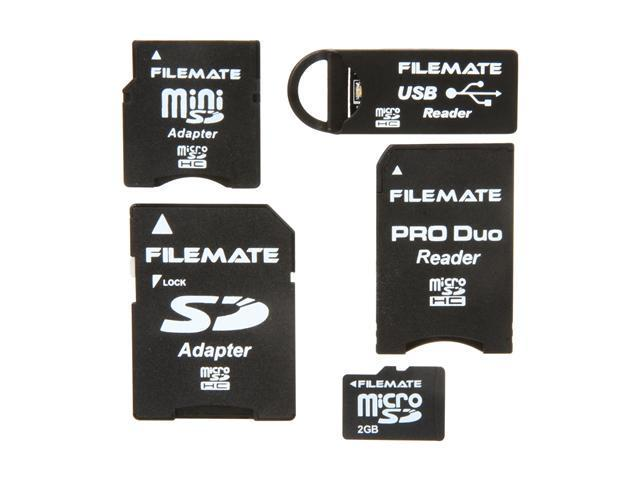 Wintec FileMate 2GB MicroSD Card-It-All Adapter Kit Model 3FMUSDCK2GB-R