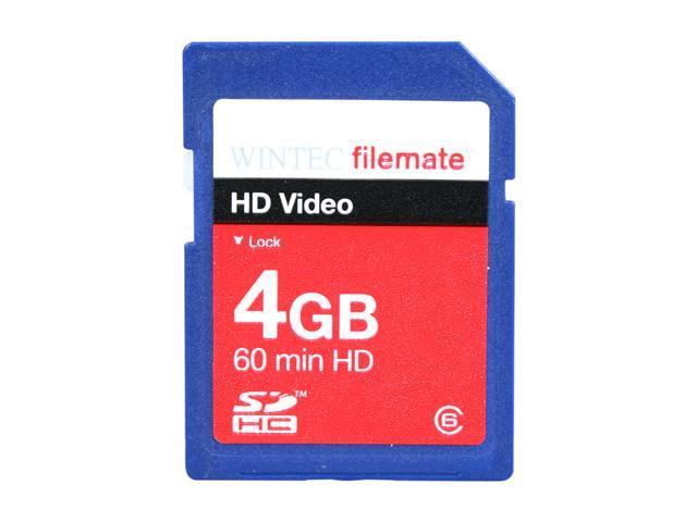 Wintec FileMate HD Video 4GB Secure Digital High-Capacity (SDHC) Flash Card Model 3FMSD4GBC6-R
