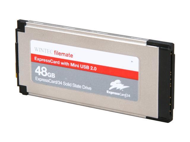 Wintec FileMate ExpressCard 34 48GB ExpressCard 34 & Mini USB 2.0 MLC Internal / External Solid State Drive (SSD) 3FMS4D048JM-R