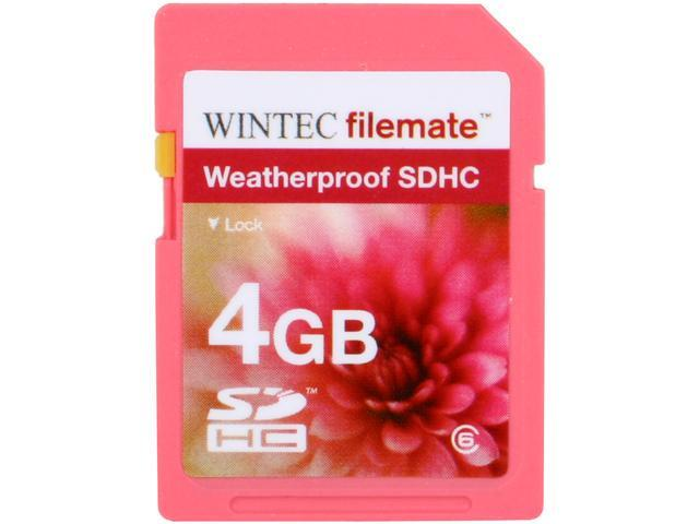 Wintec Filemate 4GB Secure Digital High-Capacity (SDHC) HD Video  Weatherproof Card  (Pink) Model 3FMSD4GBC6WPK-R
