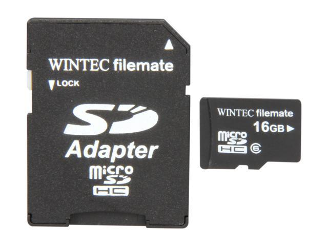 Wintec FileMate Mobile Media 16GB microSDHC Flash Card with SD Adapter Model 3FMUSD16GBC6-R