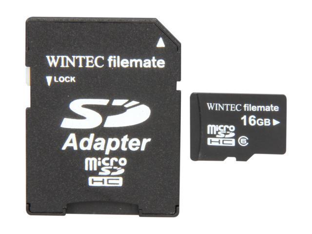 Wintec FileMate Mobile Media 16GB microSDHC Flash Card with SD Adapter Model 3FMUSD16GBC6-R