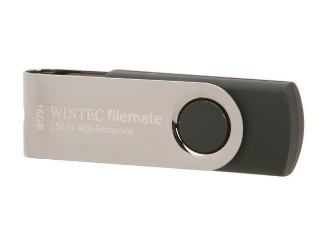 Wintec FileMate SWIVEL Enterprise Edition 16GB USB 2.0 Flash Drive 256bit AES Encryption Model 3FMUSBN16GWB-R