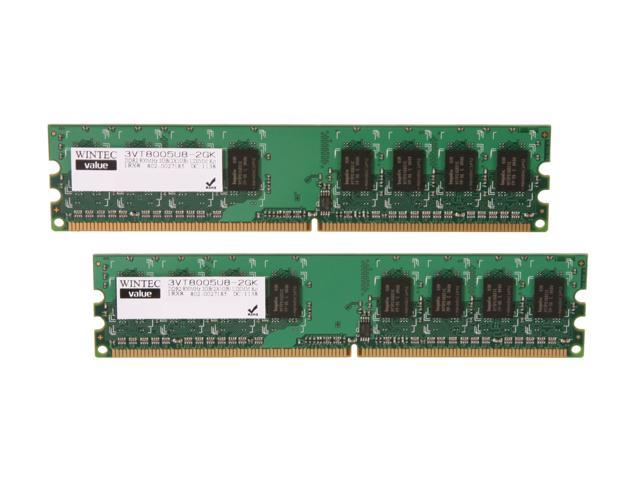 Wintec Value 2GB (2 x 1GB) 240-Pin DDR2 SDRAM DDR2 800 (PC2 6400) Desktop Memory Model 3VT8005U8-2GK