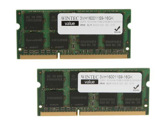 Wintec Value 16GB (2 x 8G) 204-Pin DDR3 SO-DIMM DDR3 1600 (PC3 12800) Laptop Memory Model 3VH160011S9-16GK