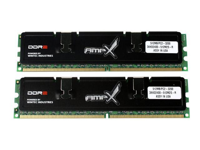 Wintec AMP-X 1GB (2 x 512MB) 240-Pin DDR2 SDRAM DDR2 400 (PC2 3200) Dual Channel Kit System Memory Model 3AXD2400-1G2SK-R