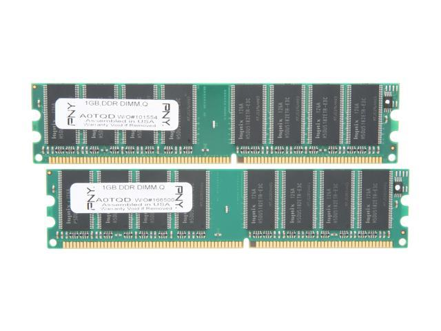 PNY Optima 2GB (2 x 1GB) 184-Pin DDR SDRAM DDR 400 (PC 3200) Desktop Memory Model MD2048KD1-400