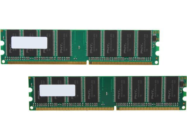 PNY 2GB (2 x 1GB) 184-Pin DDR SDRAM DDR 400 (PC 3200) Desktop Memory Model MD2048KD1-400-V2
