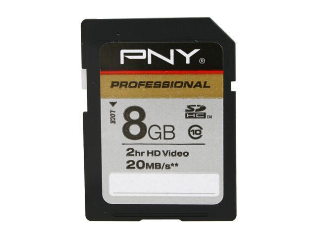 PNY Professional Series 8GB Secure Digital High-Capacity (SDHC) Flash Card Model P-SDHC8G10-EF