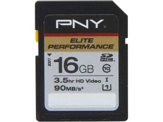 PNY ELITE PERFORMANCE 16GB Secure Digital High-Capacity (SDHC) Flash Card Model P-SDH16U2H-GES3