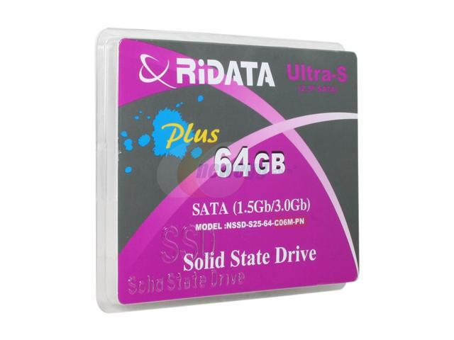 """RiDATA Ultra-S Plus 2.5"""" 64GB SATA II MLC Internal Solid State Drive (SSD) NSSD-S25-64-C06MPN"""