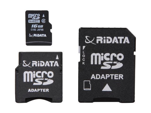 RiDATA Lightning Series 16GB microSDHC Flash Card w/2 Adapters (SD/Mini SD/Mini SDHC) Model RDMICSDHC16GLIG2-2