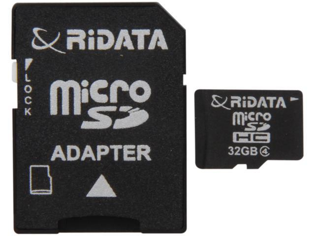 RiDATA 32GB microSDHC Flash Card w/1 Adapter Model RDMICSDHC32G-LIG4