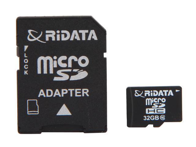 RiDATA 32GB microSDHC Flash Card with 1 Adapter Model RDMICSDHC32G-LIG10