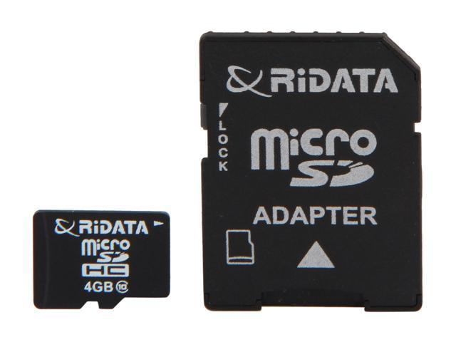 RiDATA 4GB microSDHC Flash Card with SD Adapter Model RDMICSDHC4G-LIG10