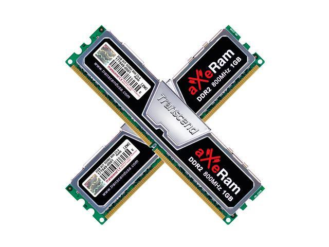 Transcend AxeRAM 2GB (2 x 1GB) 240-Pin DDR2 SDRAM DDR2 800 (PC2 6400) Dual Channel Kit Desktop Memory Model TX800QLJ-2GK