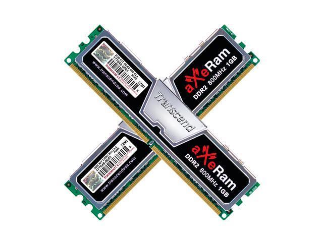 Transcend AxeRAM 2GB (2 x 1GB) 240-Pin DDR2 SDRAM DDR2 800 (PC2 6400) Dual Channel Kit Desktop Memory Model TX800QLJ-2GK