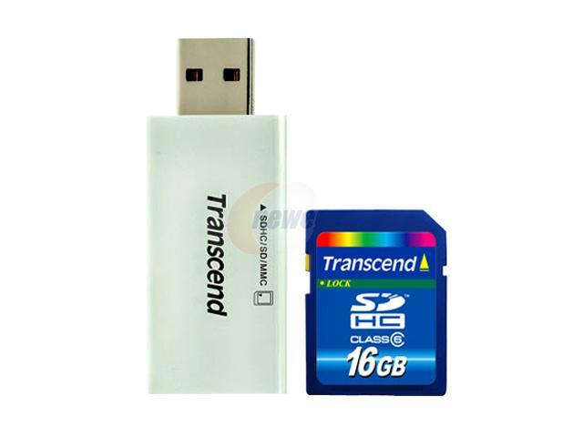 Transcend 16GB Secure Digital High-Capacity (SDHC) Flash Card w/Compact Card Reader S5 Model TS16GSDHC6- S5W