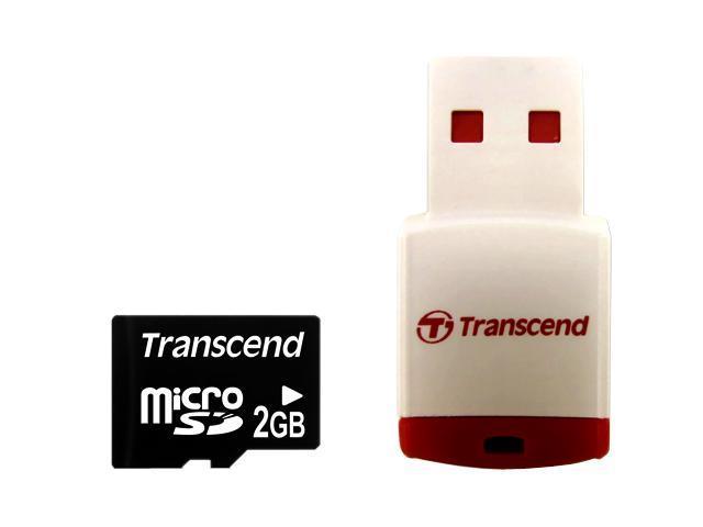 Transcend 2GB MicroSD Flash Card with P3 card reader Model TS2GUSD-P3