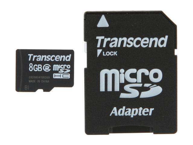 Transcend 8GB microSDHC Flash Card with SD Adapter Model TS8GUSDHC2
