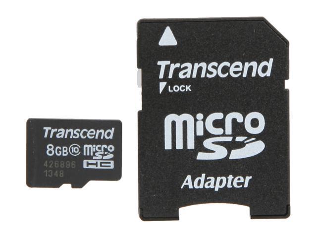 Transcend 8GB microSDHC Flash Card Model TS8GUSDHC10
