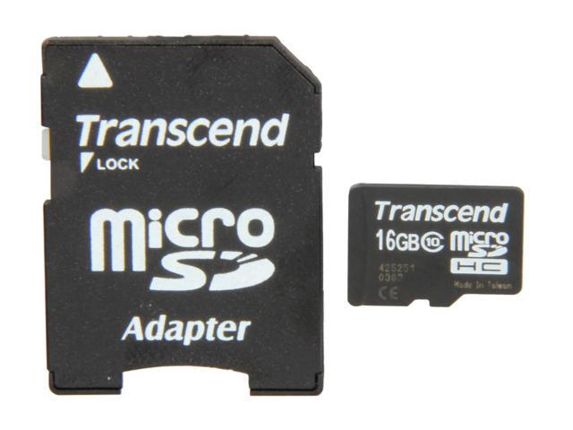 Transcend 16GB microSDHC Flash Card Model TS16GUSDHC10